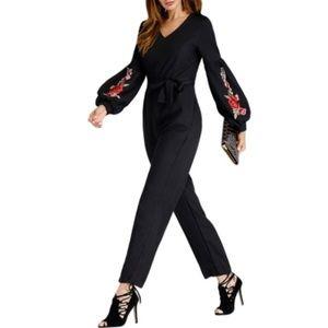 Black Embroidered Puff Sleeve Jumpsuit